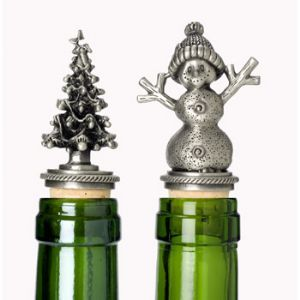 Holiday Pewter Stopper Set, Tree & Snowman