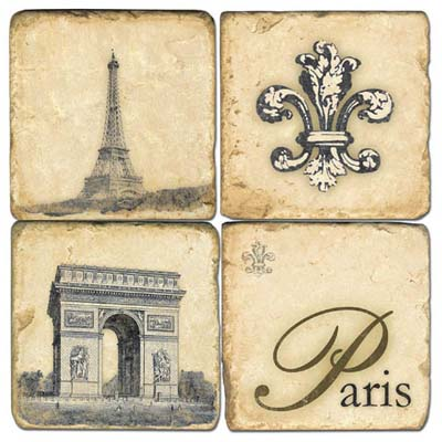 Retro Paris Marble Coasters