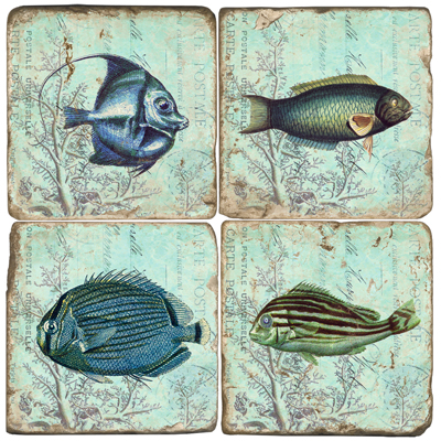 Under the Sea Fish Marble Coasters