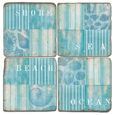 Coastal Collage Marble Coasters