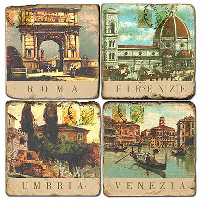 Italian Postcards Marble Coasters