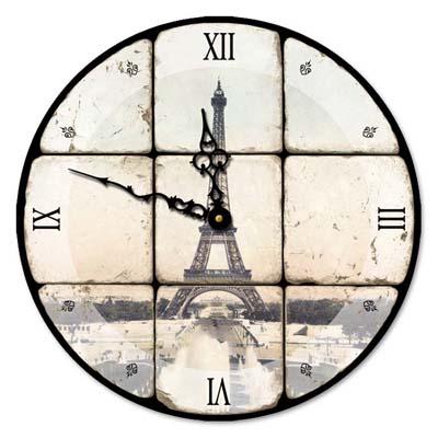 Eiffel Tower Glass Clock