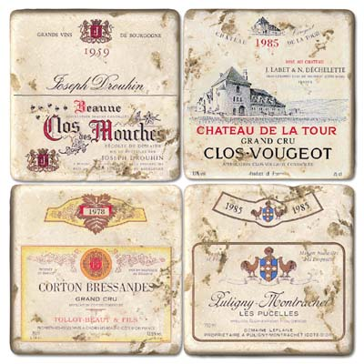 French Wine I Marble Magnets (set of 4)