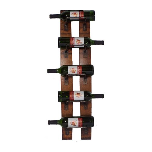 5 Bottle Wall Mounted Barrel Staves Rack