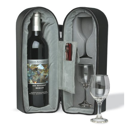 Wine Bottle Carriers with Glasses, Branded with Company Logo (set of 12)