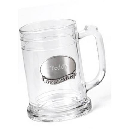 Glass Mug w/ Pewter Personalized Medallion