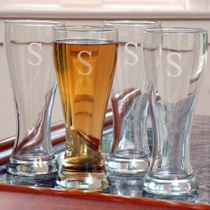 Pilsner Glass Set of 4 Beer Glasses, Personalized