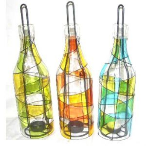 Wine Bottle Tealight Harlequin (set of 3)