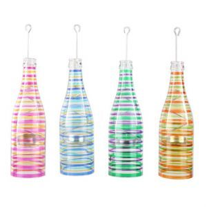 Wine Bottle Tea Light Striped Lamp