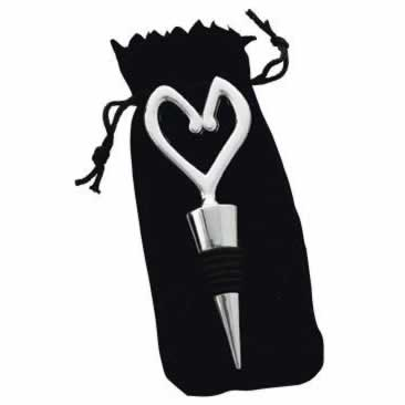 Heart Bottle Stopper, Chrome