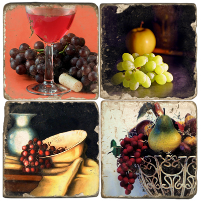 Grapes 4 Marble Coaster Set
