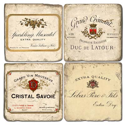 French Wine Tumbled Marble Coasters, III
