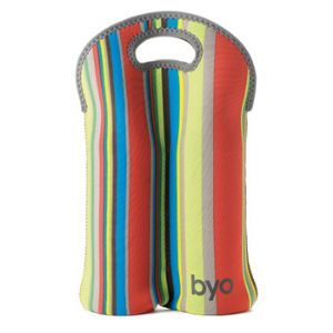 Byo 2 Bottle Detroit Stripe Wine Carrier