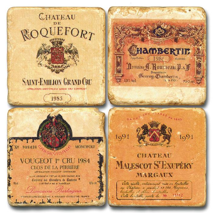 French Wine II Tumbled Marble Coasters