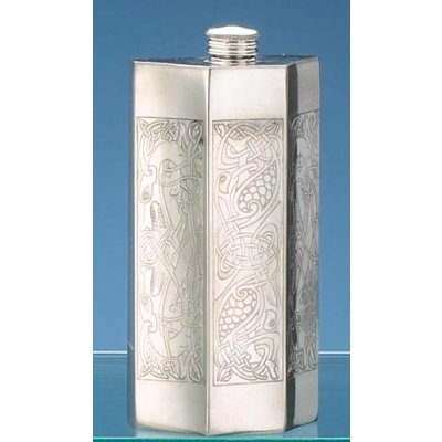 Pewter Panel Iona Flask from England
