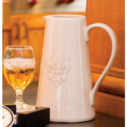 Fleur De Lis Cream Ceramic Pitcher
