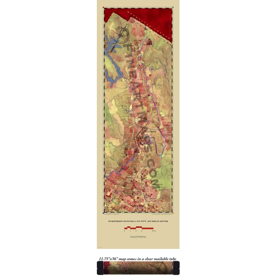 N. Sonoma Valley Russian River Wine Country Map
