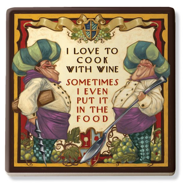 I Love to Cook with Wine Ceramic Trivet - Old World