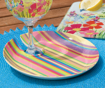 Wine Glass Appetizer Plates, Striped