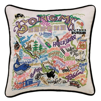 Sonoma County Embroidered Pillow