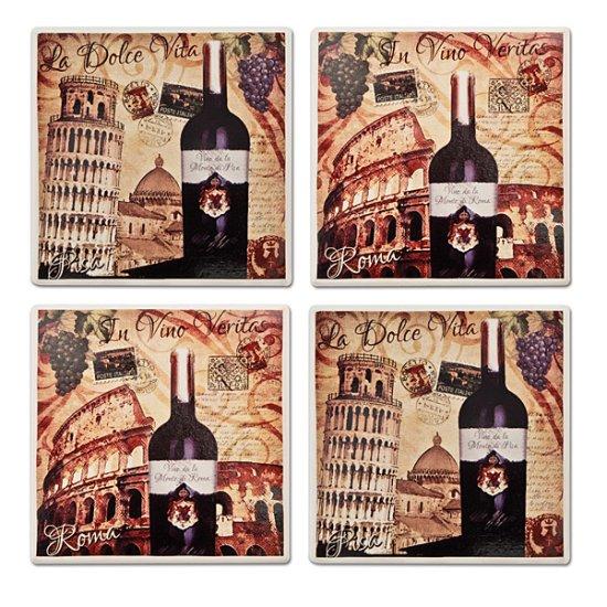Ciao Italia Stoneware Italian Wine Coasters