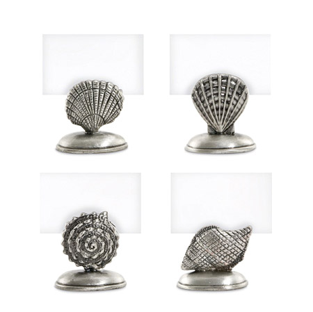 Pewter Plated Sea Life Place Card Holders (Set of 4)