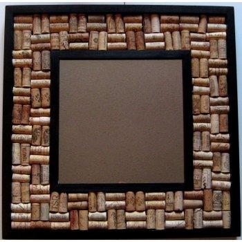 Wine Cork Board Cork Art Project with Mirror