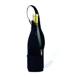 Black Neoprene Wine Bottle Bag with Zipper
