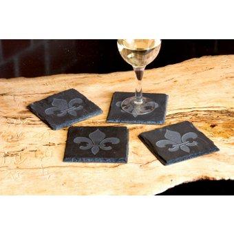 Fleur de Lis Etched in Slate Coasters