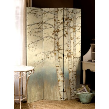 Birch Wood Stretch Canvas Floor Screen
