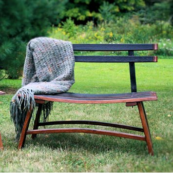 Cuddle Stave Bench with Barrel Staves Backrest