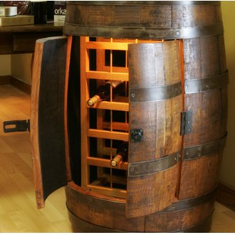 Wine Barrel Wine Rack Cabinet on Casters