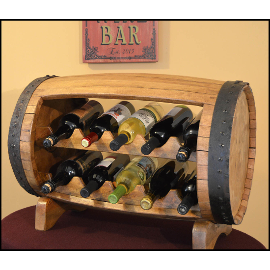 Table Top Whiskey Barrel Bottle Rack
