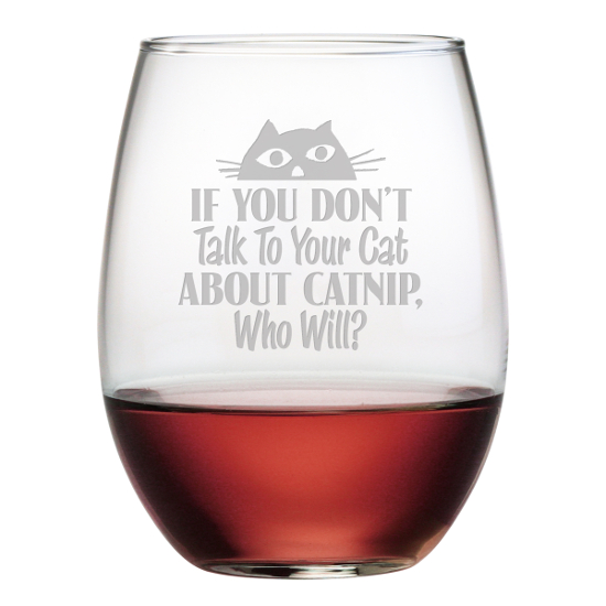 Talk To Your Cat Stemless Wine Glasses (set of 4)