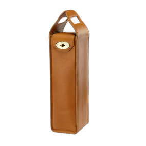 Tuscan Tan Leather Turnlock Wine Bottle Tote