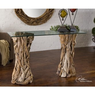 Uttermost Teak Console Table in Natural Unfinished Teak Wood