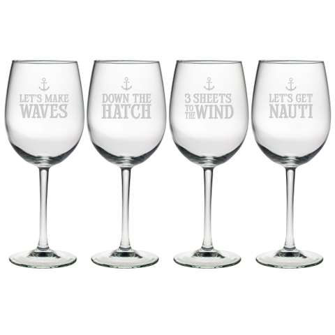 Down The Hatch Stemmed Wine Glasses (set of 4)