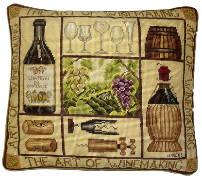 """The Art of Wine Making"" Needlepoint Pillow"