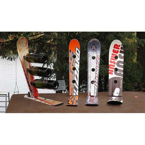 Recycled Snow Ski Three Bottle Wine Rack