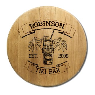 Tiki Bar Barrel Head Sign