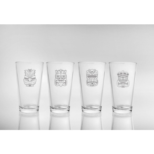 Tiki Pint Glasses (set of 4)