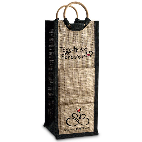 Personalized Jute Bottle Bag with Matching Coasters (Set of 25)