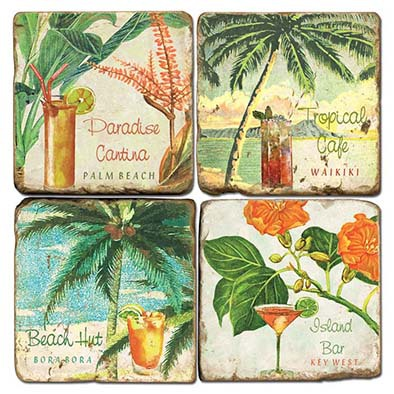 Marble Tropical Drinks Coasters (set of 4)