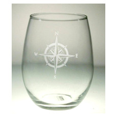 Compass Rose Stemless Wine Tumbler 17oz Set of 12