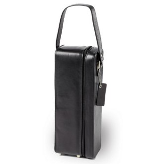Tuscan Black Leather One Wine Bottle Holder