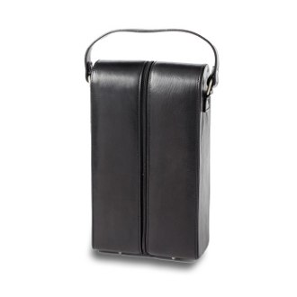 Tuscan Black Leather Two Wine Bottle Carriers with Logo, (set of 100)