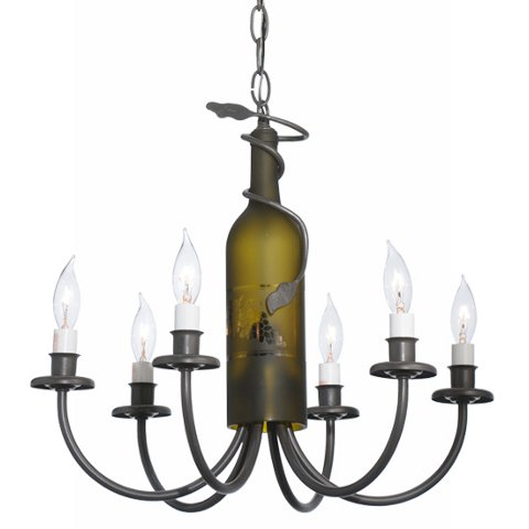 Tuscan Vineyard 6 Light Wine Bottle Chandelier