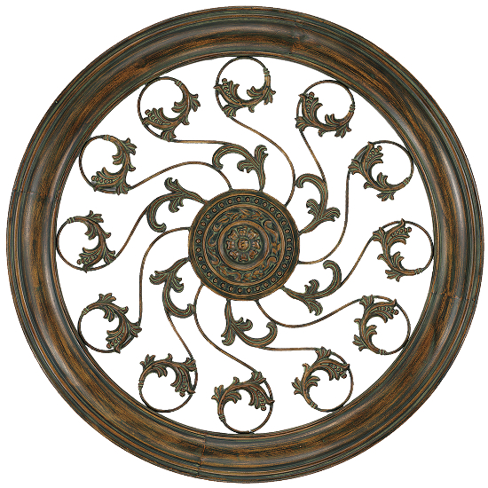 Aged Round Vine Medallion Wall Art
