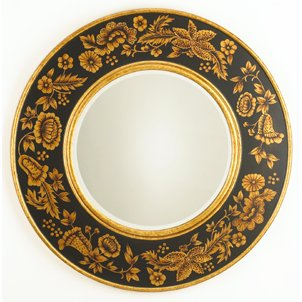 Black Floral Beveled Mirror