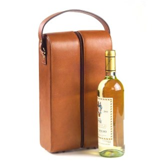 Tuscan Tan Leather Two Wine Bottle Holder